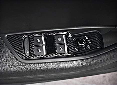 HDCF Auto Innent/ürgriff Sch/üssel Abdeckung Aufkleber Fall Trim Carbon Farbe 4 st/ücke F/ür A4L B9 A5 Q7 2017-2019 LHD ABS Aufkleber