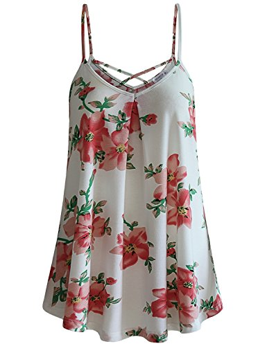 MOQIVGI Floral Tops for Women,Girls Summer Criss Cross Camisole Tank Top Soft Breathable Cool Babydoll Going Out Strappy V Neck Blouse Ladies Dressy Office Career Sleeveless Tunics White - Beautiful Cross