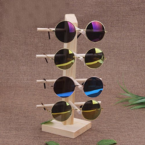 LUOEM Wooden Sunglasses Display Holder Eyeglasses Organizer Stand Rack with 4 Layers by LUOEM (Image #3)