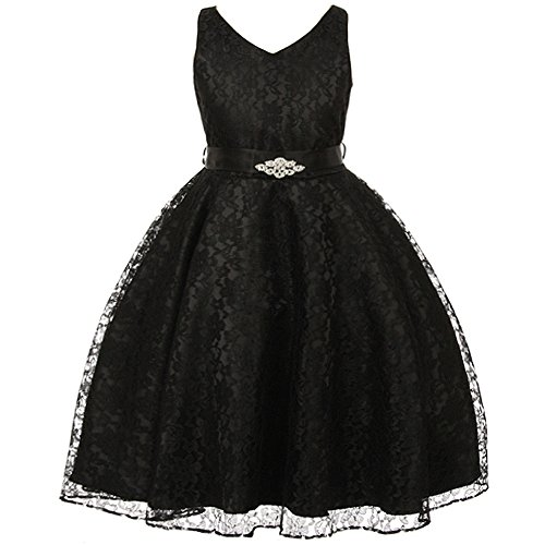 Big Girls Fabulous Full Lace V-Neck Dress Rhinestone Brooch Black - Size 8