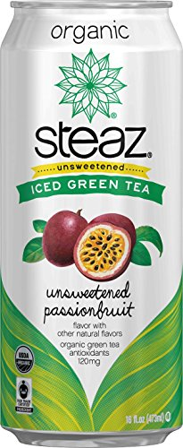Steaz Organic Iced Green Tea, Unsweetened Passionfruit, 16 Ounce (Pack of (Green Passion Fruit)