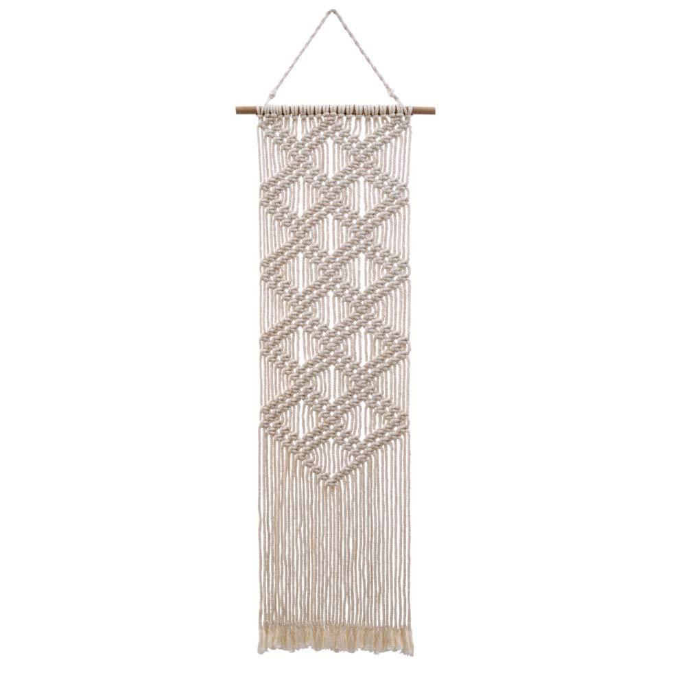 Macrame Woven Wall Hanging Curtain Fringe Banner - Boho Chic Bohemian Wall Decor-BohoTapestry - Apartment Dorm Living Room Bedroom Baby Nursery Art, 12 W x39 L 12 W x39 L Majalor