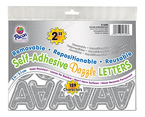 "Pacon 2"" Self-Adhesive Uppercase Letters, 159-Count, Silver Dazzle (51690)"
