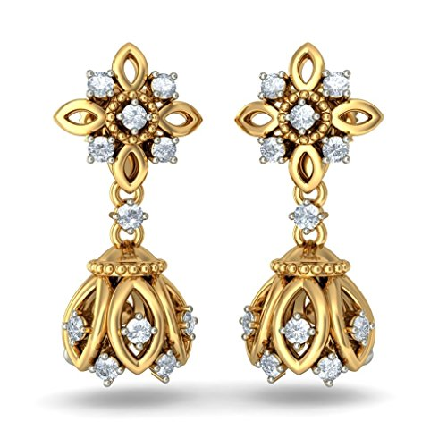 18 K Or jaune 0,46 CT TW White-diamond (IJ | SI) Pendants d'oreilles