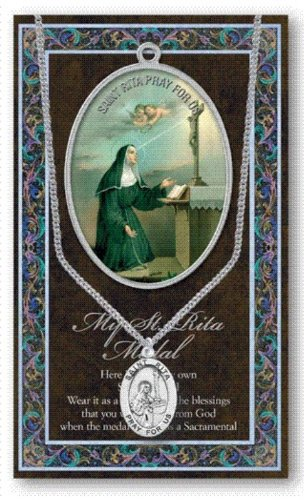 St Rita Pewter Medal on 18 Inch Chain with Embossed Pamphlet and Prayer