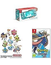 Switch Lite Turquoise & Pokemon Sword & Sticker Set (Exclusive to Amazon)