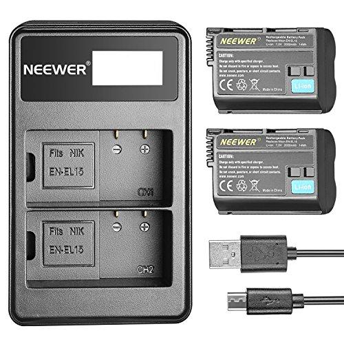 Neewer 2 piezas 2000mAh Reemplazo de Batería Li-ion para Nikon EN-EL15 y 5V/2A Entrada Micro USB Dual Cargador para Nikon...
