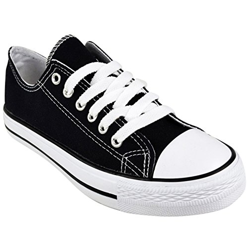 BRAND NEW LADIES WOMENS GIRLS CANVAS ® FLAT LACE UP PLIMSOLLS PUMPS TRAINERS SNEAKERS SHOES (UK 7 / EU 40 / US 9, Black)