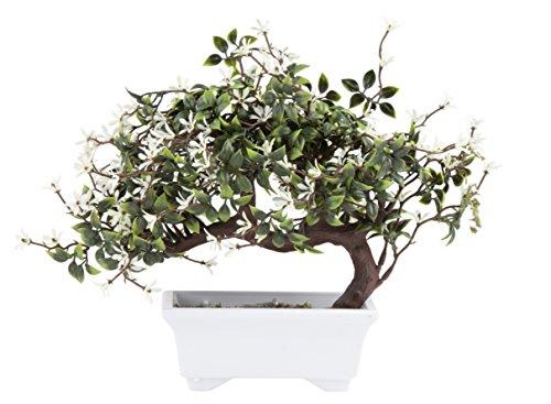 Juvale Artificial Bonsai Tree - Fake Plant Decoration, Potted Artificial House Plants, Ficus Bonsai Plant with White Flowers, for Decoration, Desktop Display, Zen Garden Décor - 11.5 x 6 x 9.5 Inches