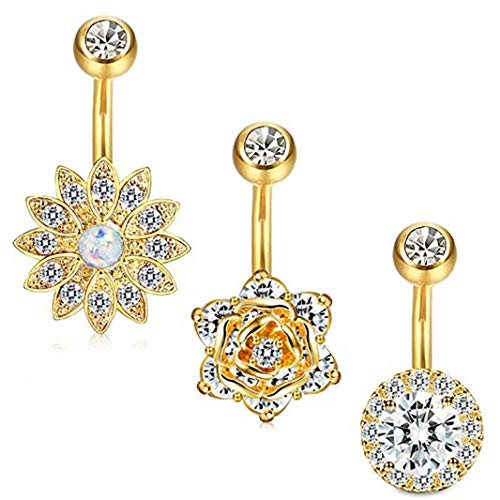 - Guoshang Belly Button Sets Silver Hot Three-in-one Jewel Navel Ring Combination 5 Color Optional Beautiful Zircon Navel Nail Set