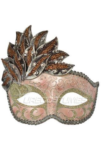 Pink & Silver Leaf Cascade Venetian Mardi Gras Mask