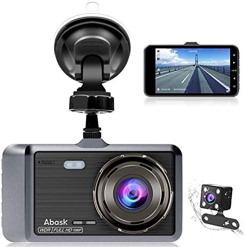 Dash Cam, Abask Dash Camera for Cars with Night Vision and Parking Dash Cam Front and Rear Dual Camera with 4 IPS Screens, 1080P Full Hd, G-Sensor, Wdr 170 Wide Angle and Motion Detection