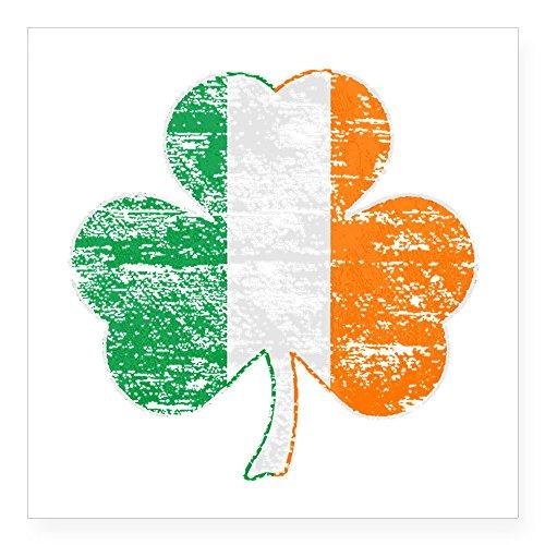(CafePress Vintage Irish Flag Shamrock Sticker Square Bumper Sticker Car Decal, 3