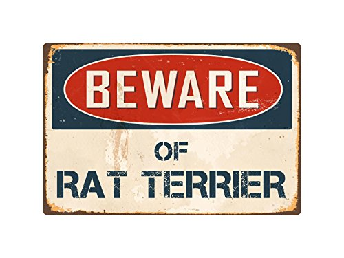 "Beware Of Rat Terrier 8"" x 12"" Vintage Aluminum Retro Metal Sign VS357"