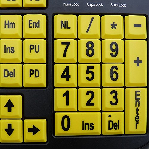 Large Print Yellow Keys USB Keyboard for Low Vision By DSI Photo #2