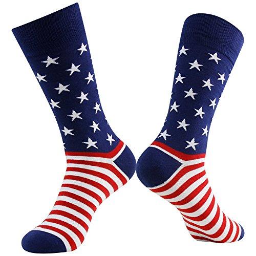 Business Gift Socks, LANDUNCIAGA Men Crew Classic Patriotic American Flag Socks Stars Stripe Design Funny Novelty Cotton Crew Bridegroom Groomsmen Socks Mid Calf,6 Pairs by LANDUNCIAGA (Image #4)