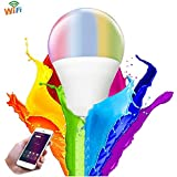 B2ocled Smart WiFi LED Light Bulb Dimmable,Smart LED RGB Color Changing 35W Equivalent,No Hub Required, Compatible with Amazon Alexa and Google Home Assistant,5Watt A19 E26/E27,600 Lumen,1 Pack