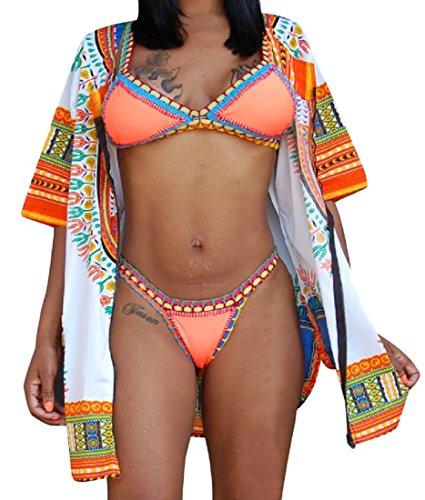 Cardigan Vestito Stampa Donne Cerniere Domple Spiaggia Estate Dashiki Arancione Delle Africano WRnZXA