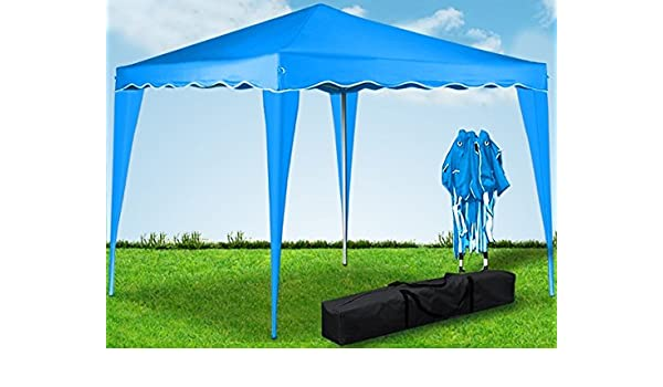Carpa plegable de 3x3 metros. Resistente al agua. Color celeste: Amazon.es: Jardín