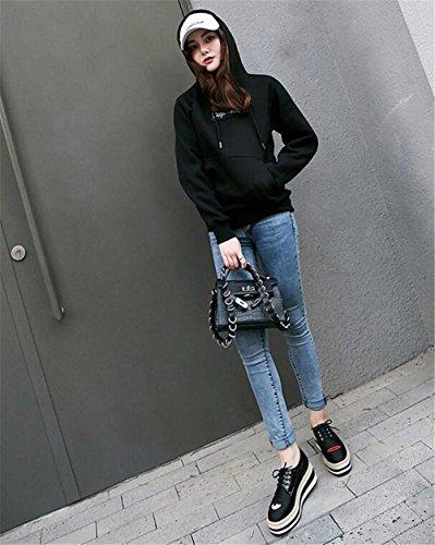 satinado Black Cuero Up 36 Bordado Labios Cuña Tamaño a rojos de Zapatos mujer 39 Plataforma Lace xZIXIH