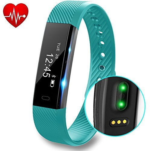 Fitness Tracker with Heart Rate monitor V2 Activity Watch Step Walking Sleep Counter Wireless Wristband Pedometer Exercise Tracking Sweatproof Sports Bracelet for Android and iOS, Teal, Hembeer