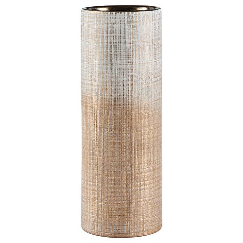 Rivet Rustic Textured Stoneware Tall Decorative Vase, 11 Inch Height, Bronze (Vase Large Floor Gold)