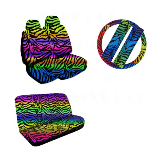UPC 826942005411, 11 Pieces Auto Seat Covers Gift Set: 2 Low Back Front Bucket Seat Covers with Separate Headrest Cover, 1 Steering Wheel Cover, 2 Shoulder Harness Pressure Relief Cover, and 1 Bench Cover - Rainbow Zebra
