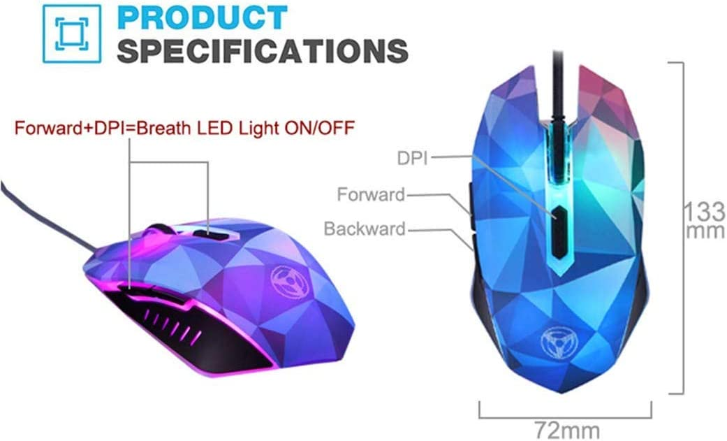 SLM-max Mice,Wired USB Gaming Mouse 4 DPI Levels//for Laptops and Office Diamond Version of The Color Backlight