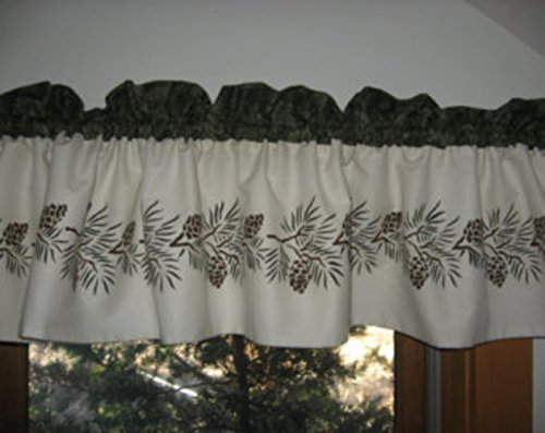 Valance Pinecone (Hand Stenciled Lined Pinecone Curtain Valance)