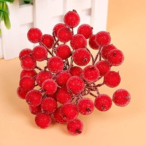 50Pack Artificial Holly Berries Wreath Craft Berry Stems for Christmas Ornaments