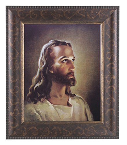 Sallman Head of Christ Print in an Art-Deco Style Frame with Antique Gold Lip ()
