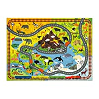 KC Cubs Playtime Collection Animal Safari Road Map Educational Learning & Game Area Rug Carpet for Kids and Children Bedrooms and Playroom