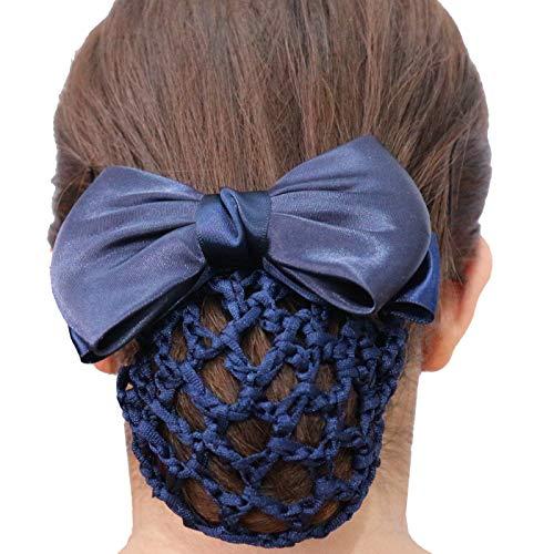HR Farm Women's Hair Net Bun Cover Horse Riding Show Bow Snood Net Bow Barrette (Navy)