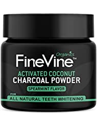 Charcoal Teeth Whitening Powder - Made in USA - REMOVES TOOTH STAINS and BAD BREATH - Best Natural Tooth Whitener Product- (Spearmint) Flavor
