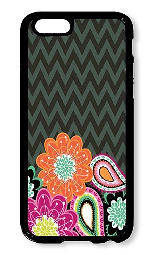 iPhone 6 Case Color Works Ziggy Zinnia Flowers Stripes Pattern Design Black PC Hard Case For Apple iPhone 6 4.7 Inch Phone Case