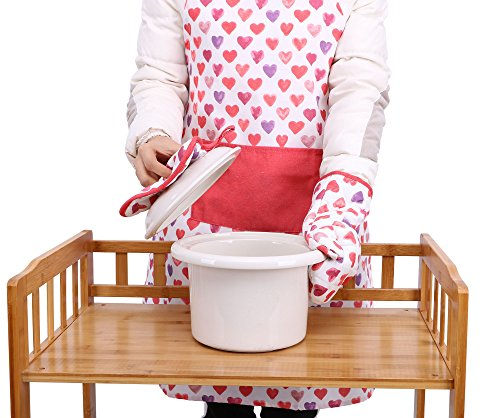3 Piece Bakers Set (Chefs Apron Printed 3 Pieces Apron Oven Mit Pot Holder Set,I Love You)