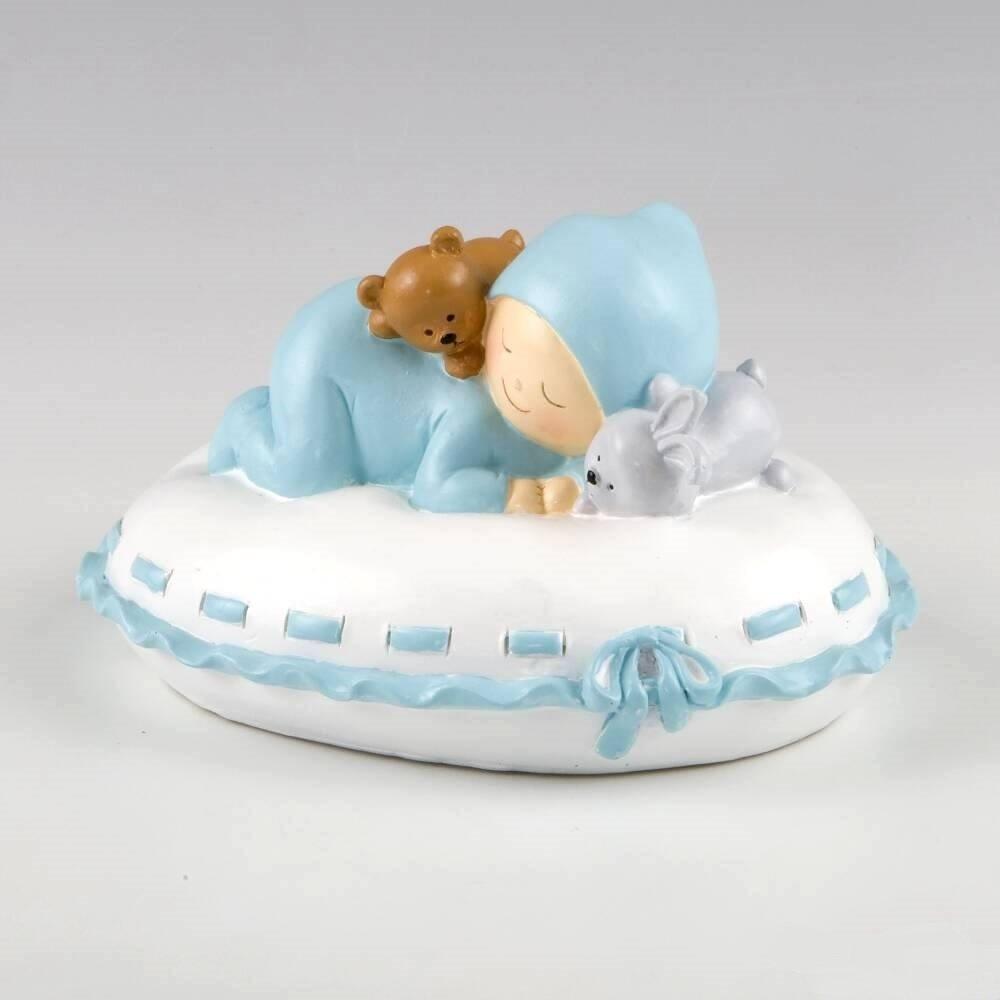 Figura Hucha bebe almohada azul