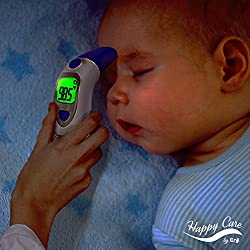 HAPPY CARE BY ENJI Baby, Children's, Adult Ear and Forehead Digital Thermometer - Temporal Electronic Infrared, Dual F & C. Fast 1 Second Read, for Infants, Babies, Kids & Adults, Termometro