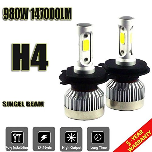Pair H4 9003 HB2 980W 147000LM Car LED Headlight Bulbs COB kit 6000K - Plymouth Mall Stores
