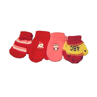Set of Four Pairs of Multicolor Magic Mittens for Infants Ages 3-12 Months
