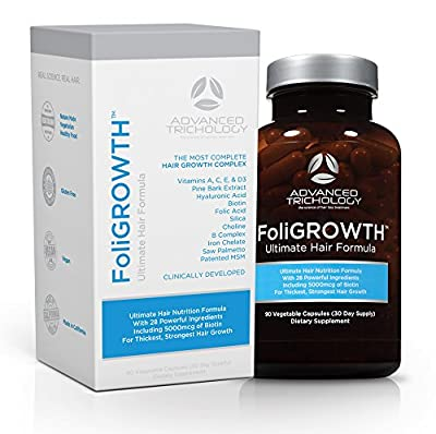 FoliGROWTH Hair Growth Vitamin - Gluten Free, Vegan Formula - with High Potency Biotin, Stop Hair Loss - Get Thickest Strongest Hair Growth Guaranteed