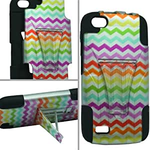 Dual Layer Plastic Silicone Rainbow Waves On Black Hard Cover Snap On Case W/ Y Kickstand For BLU Life Play L100A (Accessorys4Less)