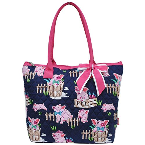 Ngil Quilted Cotton Medium Tote Bag 3 (Pig Hot Pink)