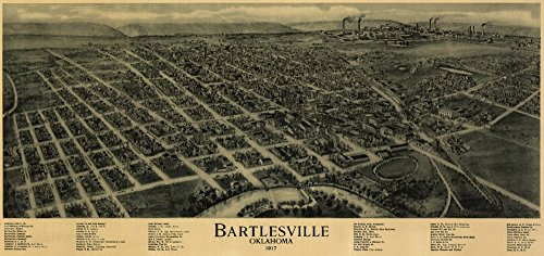 Bartlesville, Oklahoma - (1917) - Panoramic Map (12x18 Art Print, Wall Decor Travel Poster) ()