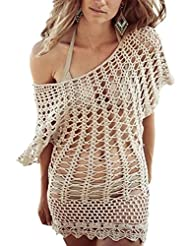 Fashionback Women's Cutwork Casual Cover-Ups Blouse Cover-Ups Apricot One Size