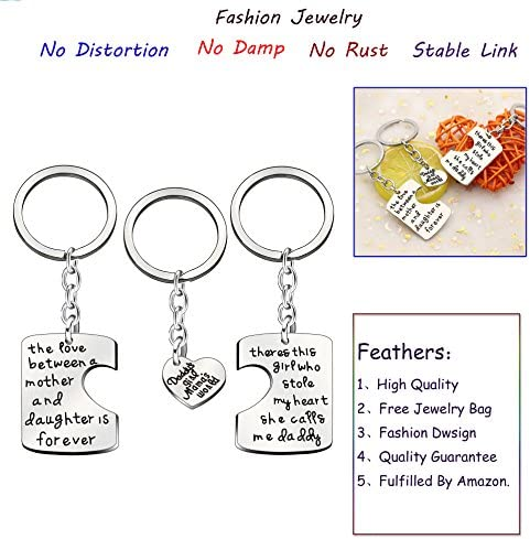 AGR8T Family Key Chain Father Mother I Love You Charm