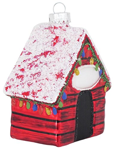 Dog House Decorated for Christmas Holiday Glass (Dog House Ornament)