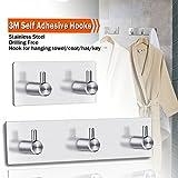 Bathroom Robe Towel Hooks,Stainless Steel Peel Stick Hooks 3M Self Adhesive Wall Robe Key Coat Towel Hooks Hanger for Kitchen Bathroom Closet Room Office Door(3+2 Hooks)