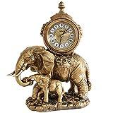 HONGNA Desktop Pendulum Clock Clock Ornaments Living Room Clocks Elephant Creative Clock European Style Clock Large Resin Mute Table Clock 12 Inches (Size : 12 inches)