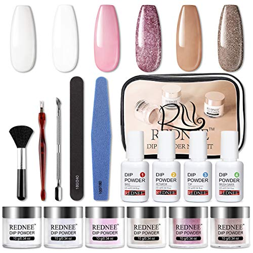 REDNEE Dip Powder Nail Starter Kit 6 Colors with Acrylic Dip Nail Kit System No Lamp Needed for Travel - RE04 Vintage Color